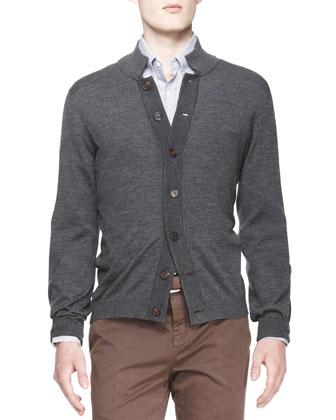 Melange Knit Buttoned Cardigan