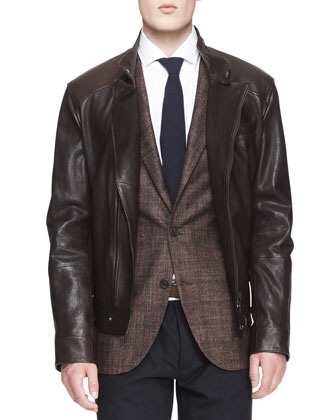 Leather Asymmetric-Zip Moto Jacket