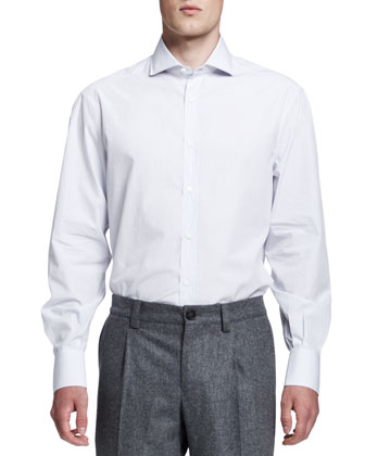 Micro-Windowpane Button-Down Shirt, White