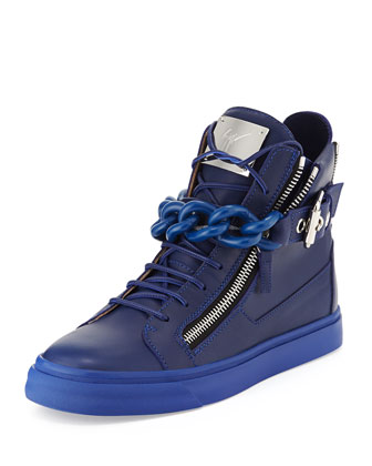 Men's Chain & Zipper Leather High-Top, Blue