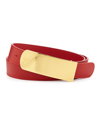 Men's Leather Logo Plaque Belt, Red