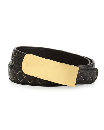 Men's Quilted Leather Belt, Black/Gold