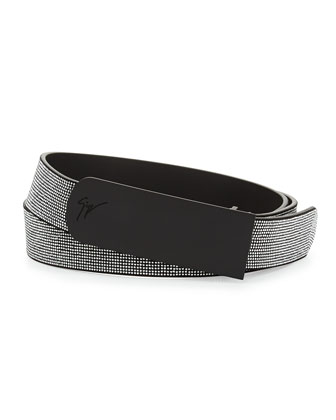 Men's Studded Leather Belt, Black/Silver