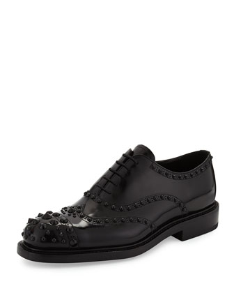Leather Tonal-Stud Wingtip