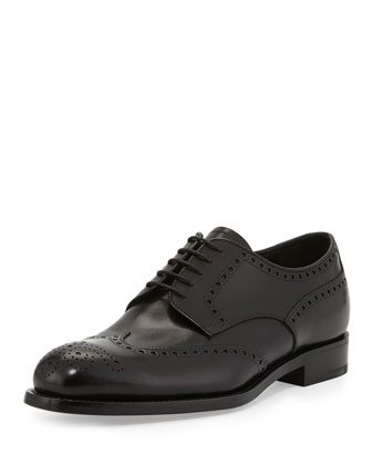 Vitello Deco Lace-Up Wingtip, Nero