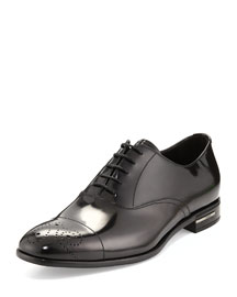 Lace-Up Leather Dress Shoe, Black