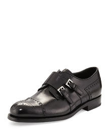 Medallion Leather Double Monk Shoe, Black