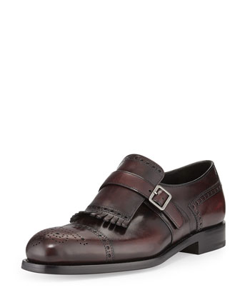 Kiltie Perforated Monk Strap Oxford, Brown