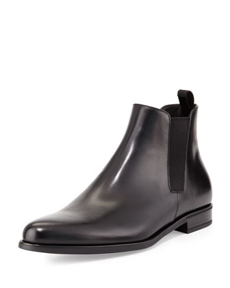 Dress Leather Chelsea Boot, Black