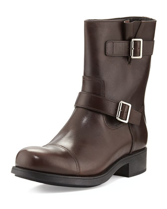 Double Buckle Leather Moto Boot, Brown
