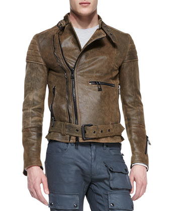 Distressed Leather Moto Jacket, Brown