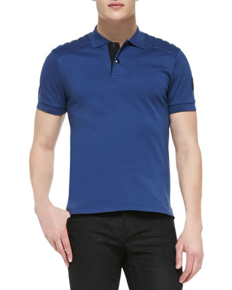 Aspley Short-Sleeve Polo with Shoulder Pads, Blue