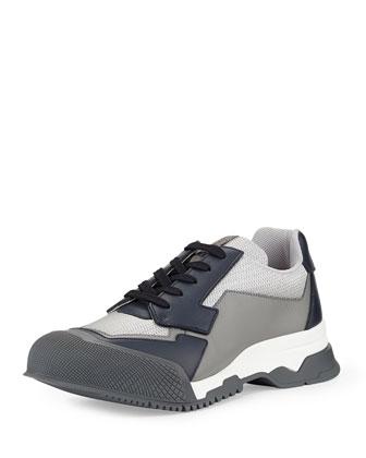 Nylon Runway Trainer Sneaker, Blue/Gray