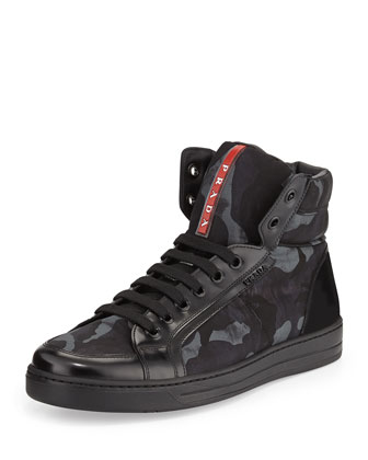 Camo-Print High-Top Sneaker, Blue