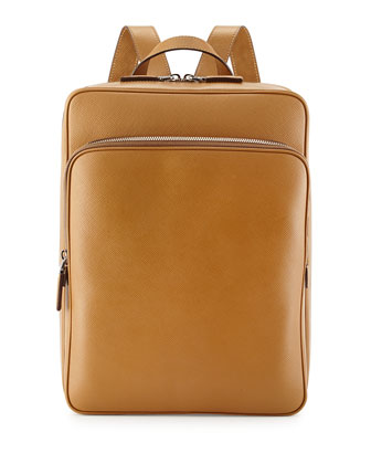 Saffiano Cuir Slim Backpack, Caramel