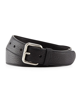 Dino Pebbled Leather Silver Buckle Belt, Black (Nero)