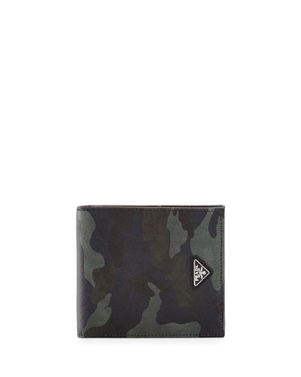 Camo-Print Saffiano Leather Wallet, Blue