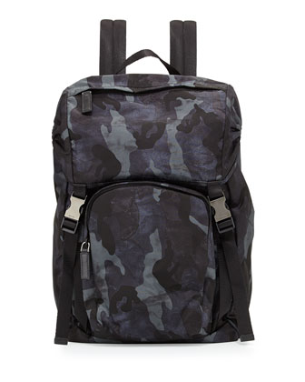 Nylon Double-Buckle Backpack, Blue Camo