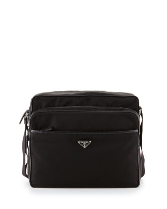 Men's Double Zip Nylon Messenger Bag, Black (Nero)