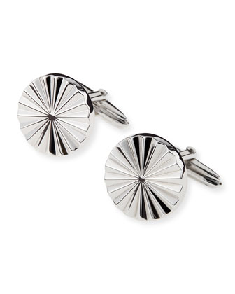 Rhodium Plated Wheel Cuff Links