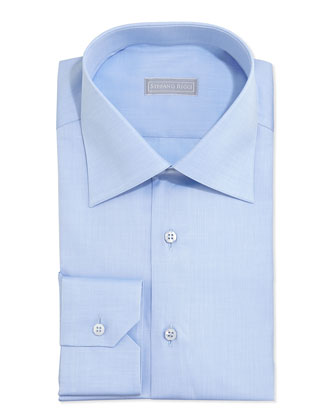 Basic Solid Barrel-Cuff Dress Shirt, Blue