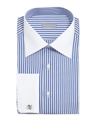 Contrast-Stripe French-Cuff Dress Shirt, Blue/White