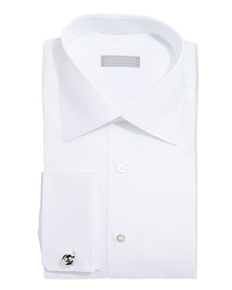 Basic French-Cuff Solid Dress Shirt, White