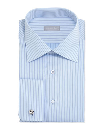 Striped French-Cuff Solid Dress Shirt, Light Blue