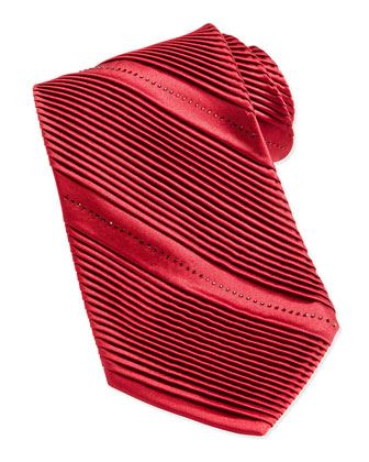 Pleated Crystal Silk Tie, Red