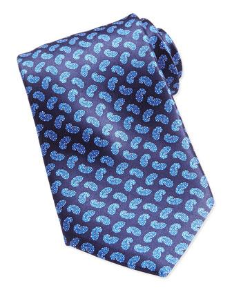 Paisley-Print Woven Silk Tie, Blue