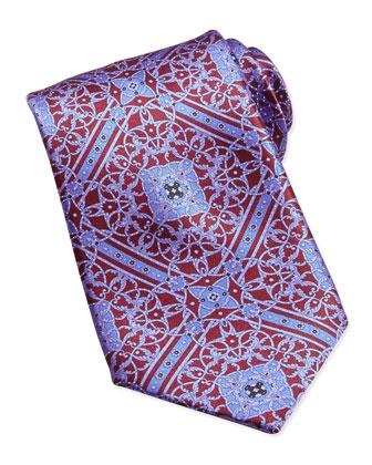 Floral-Pattern Woven Silk Tie, Burgundy
