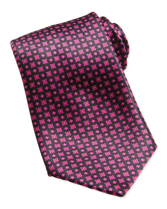 Neat Medallion Pattern Silk Tie, Light Purple