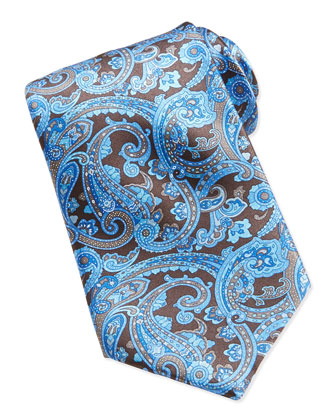 Neat Paisley Pattern Silk Tie, Blue