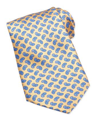 Neat Paisley Pattern Silk Tie, Yellow