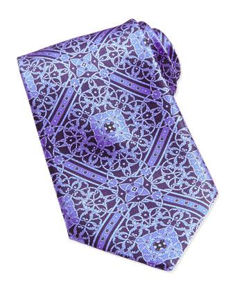 Floral Medallion Pattern Silk Tie, Blue