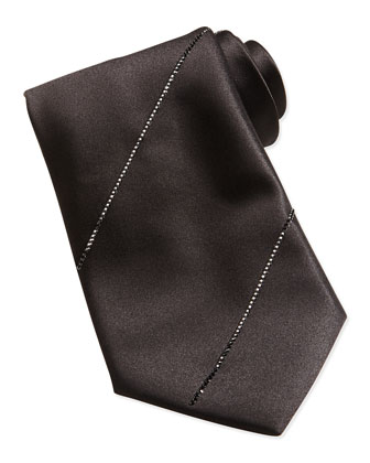 Pleated Crystal Silk Tie, Black