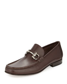 Giordano Calfskin Gancini Loafer, Brown