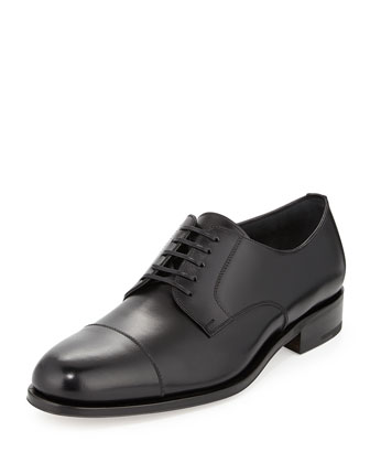 Rand Calfskin Lace-Up Shoe, Black
