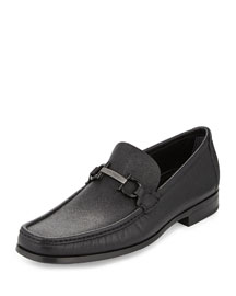 Regal Pebbled Calfskin Gancini Loafer, Black