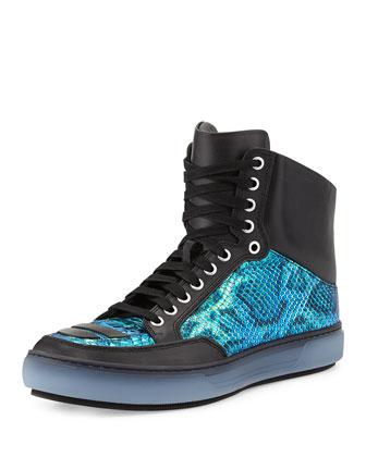 Iridescent Snake-Embossed Leather Sneaker, Green
