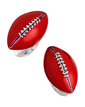 Hand-Painted Football Cuff Links, Red