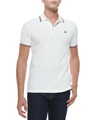Short-Sleeve Tape-Tipped Polo, White