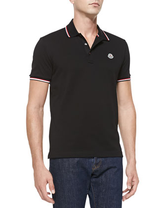 Short-Sleeve Tape-Tipped Polo, Black