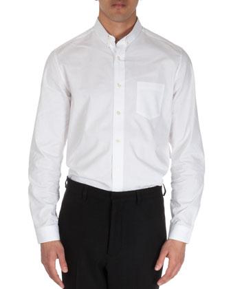 Button-Collar Long-Sleeve Shirt, White