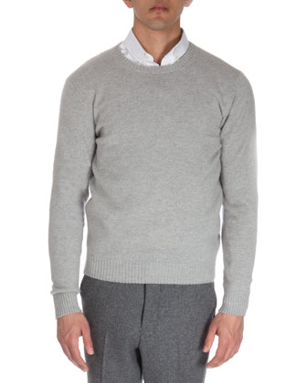 Wool Crewneck Sweater, Light Gray