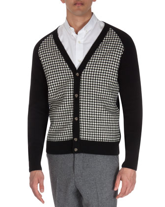 V-Neck Houndstooth Cardigan