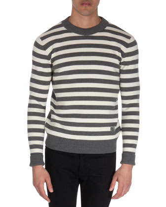 Striped Crewneck Sweater, Gray