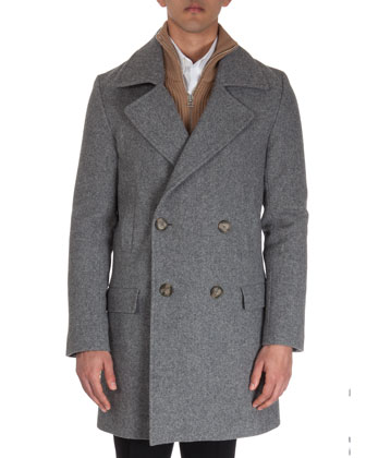 Long Wool Peacoat, Light Gray