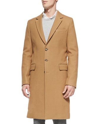 Single-Breasted Wool Overcoat, Camel