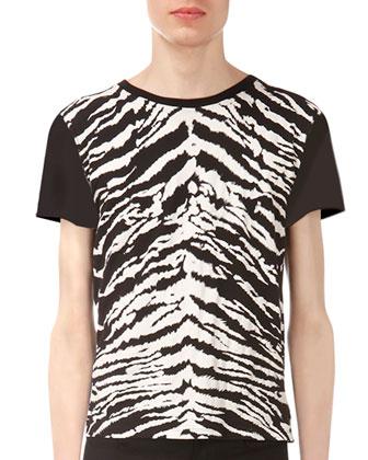 Tiger-Print Short-Sleeve Tee